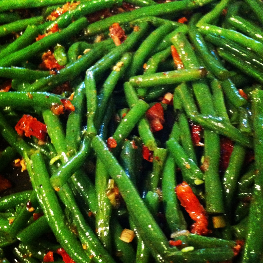how to cook canned green beans with bacon grease
