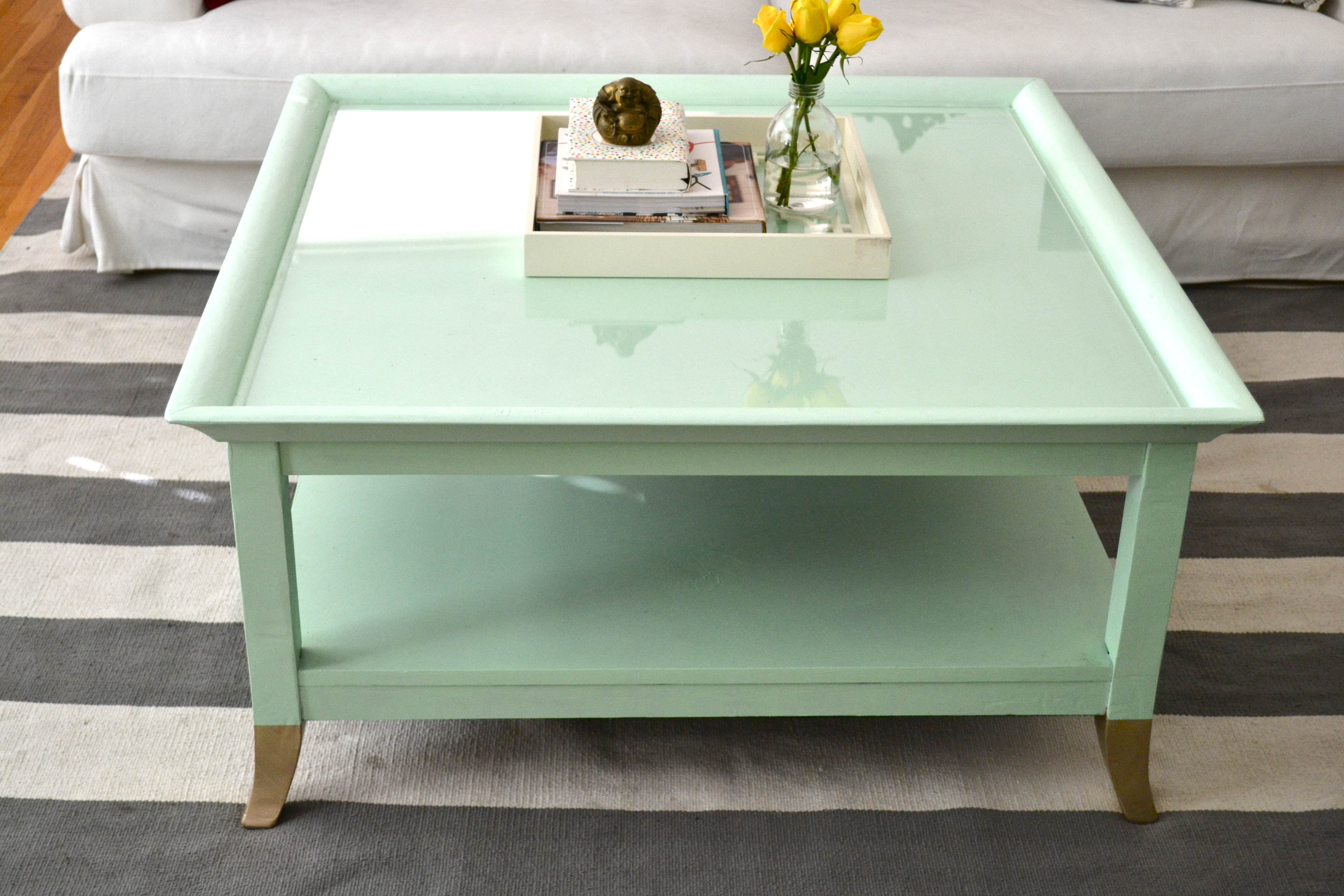 Mint coffee table with gold feet a makeover little bits of Painted coffee table