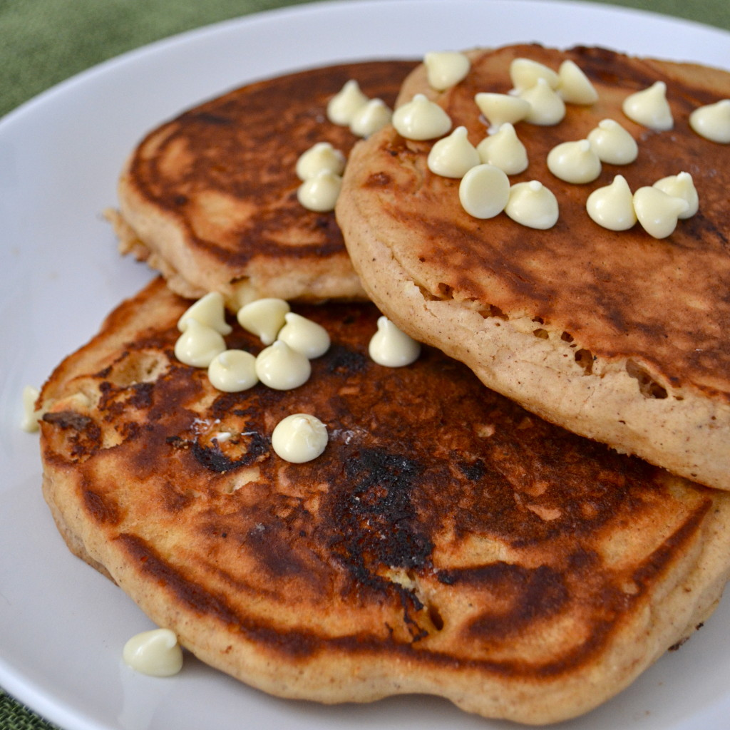 Gingerbread White Chocolate Chip Pancakes - Little Bits of...