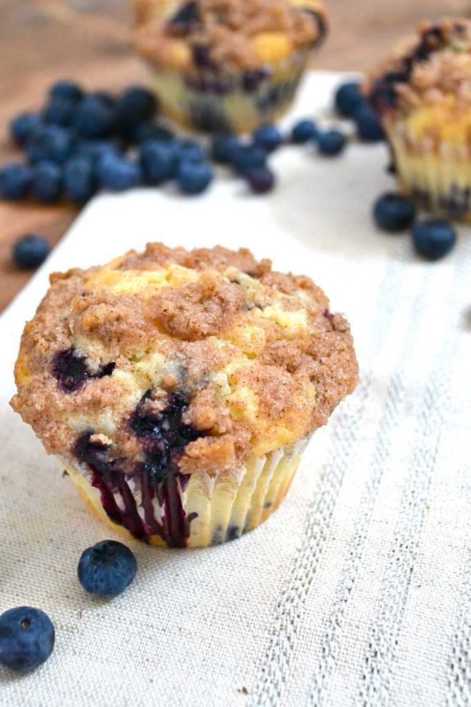 Blueberry Muffins with Cinnamon Streusel Topping - Little Bits of...