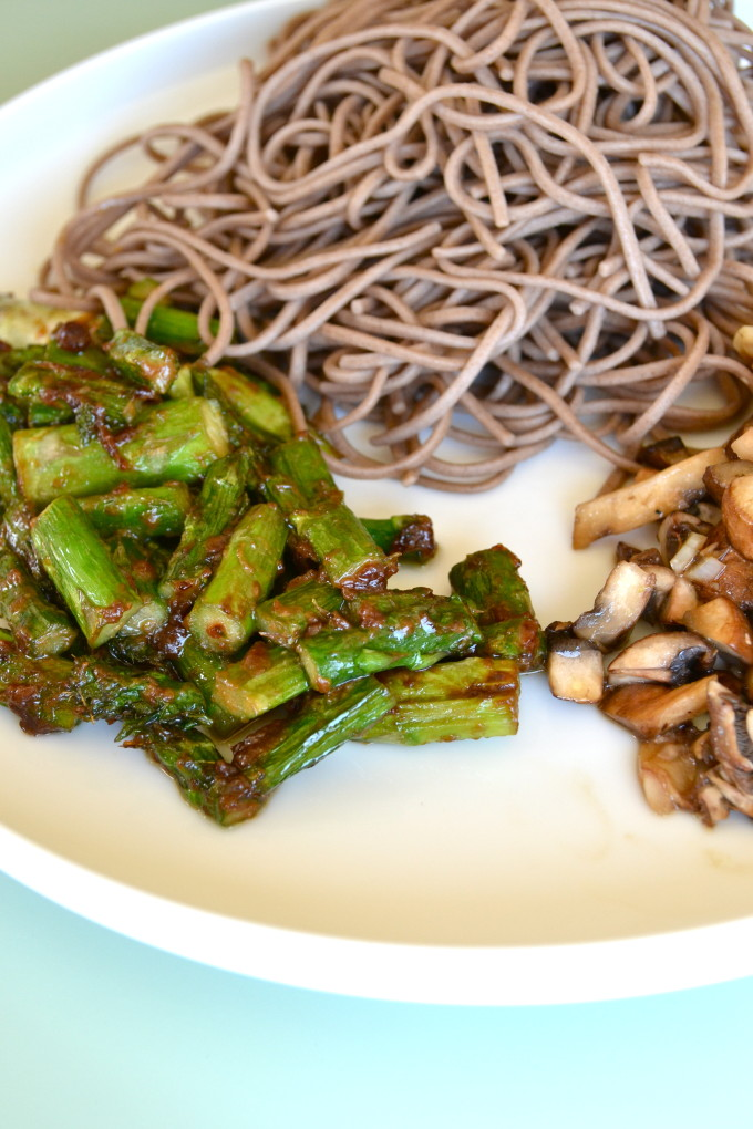 ... asparagus and sauteed mushrooms! Oh and top with sesame seeds of