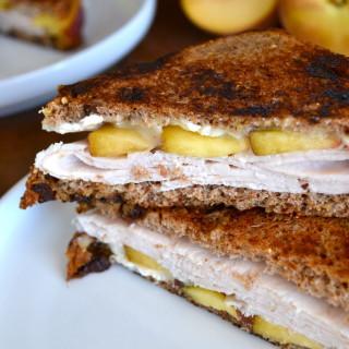 Peach, Brie & Turkey Melt on Cinnamon Raisin Sprouted Bread