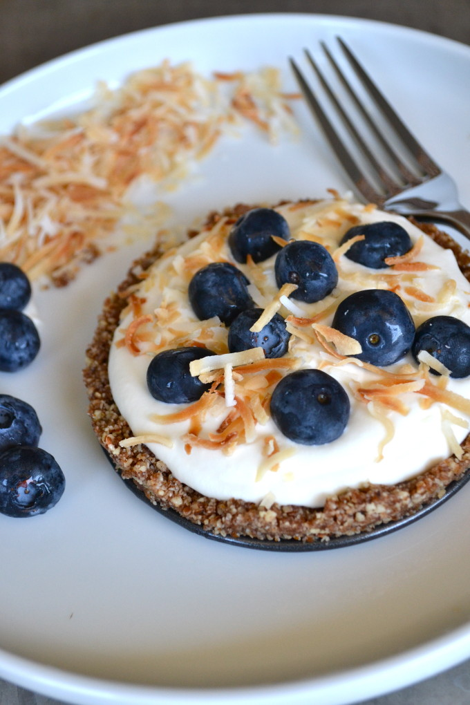 Toasted Coconut & Blueberry Grain-Free Raw Tarts