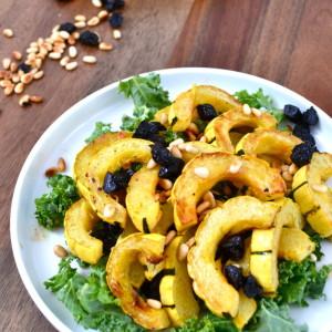 Roasted Delicata Squash w/ Pine Nuts & Dried Cherries