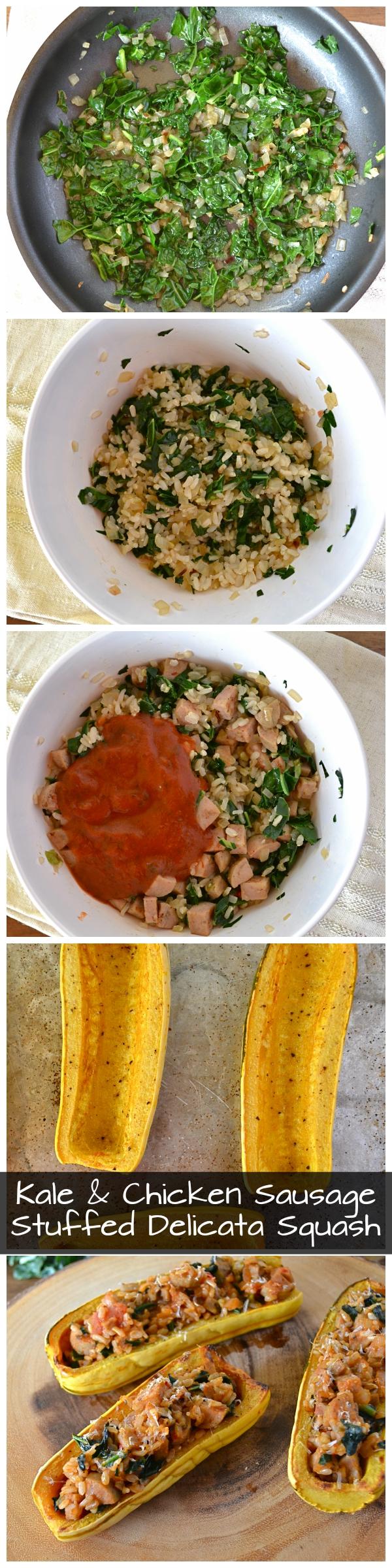 Kale & Chicken Sausage Stuffed Delicata Squash - Little Bits of...