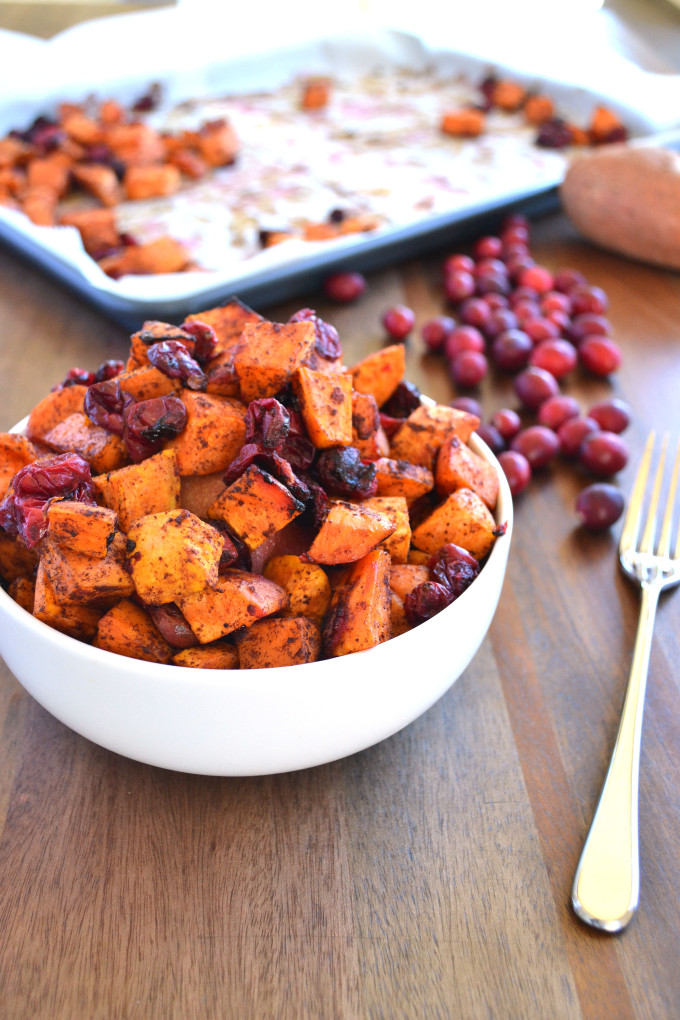 Cinnamon Roasted Sweet Potatoes & Cranberries - perfect thanksgiving side dish for a real food celebration!