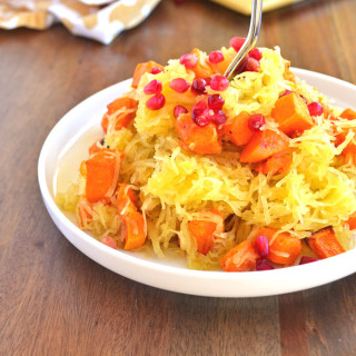 Spiced Spaghetti Squash with Butternut Squash & Pomegranate Seeds - a perfect paleo side dish for any occasion!