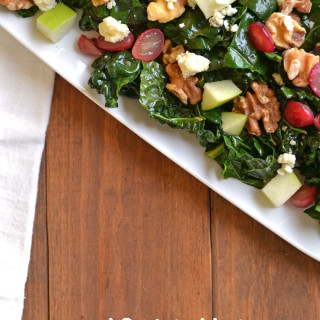 Warm Kale Waldorf Salad // Slightly wilted kale makes for the perfect base to these fresh waldorf toppings!