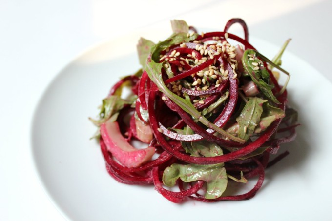 Easy Whole30 Side Dishes: Raw Balsamic Tahini Beet Noodles!