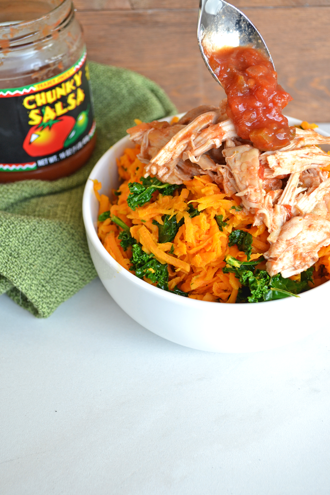 Slow Cooker Salsa Chicken with Sweet Potato Rice! This is a nutrient packed super meal! Paleo and Whole30 - this lime cilantro sweet potato rice is FULL of flavor!