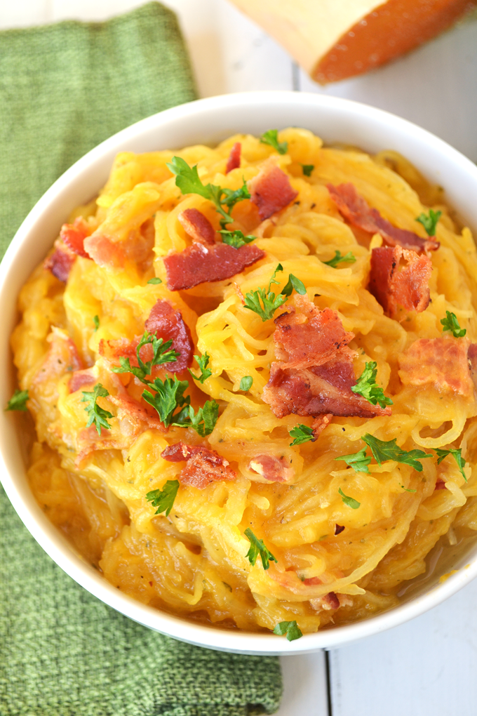 This Spaghetti Squash w/ Creamy Butternut Sage Sauce is such a delicious whole30 approved and Paleo meal!! You can even take out the bacon to make it Vegan! So full of flavor and easy to make.