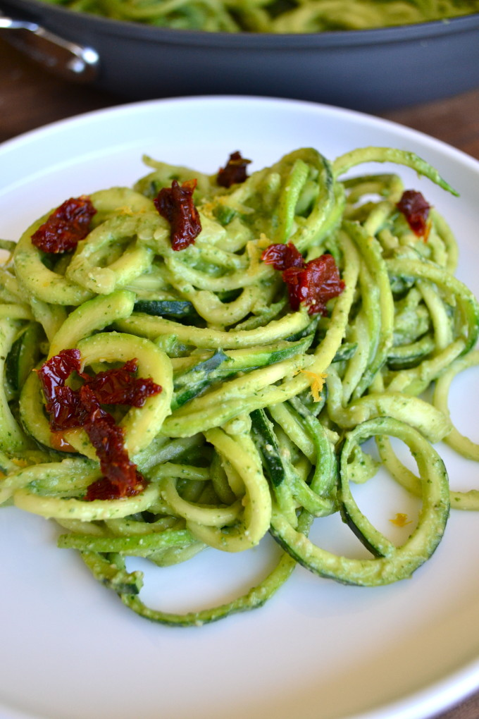 Avocado Pesto Zoodles - Part of a healthy green recipe round up!