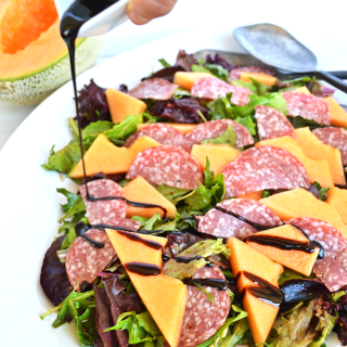 This Cantaloupe & Salami Salad with Balsamic Glaze is refreshing and perfect side dish for spring and summer!