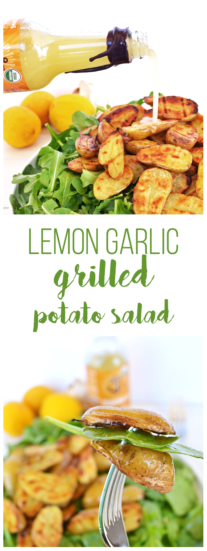 Tessamae's Lemon Garlic Vinaigrette uses all clean and Whole 30 approved ingredients and goes perfectly on this Grilled Potato Salad! It is a perfect light side dish for any spring or summer barbecue!