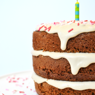 This Whole Wheat Vanilla Birthday Cake is the perfect clean cake for a super healthy celebration!! No refined sugars!