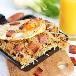 This Bacon Fennel Hash is the perfect Whole30 & Paleo breakfast that is full of flavor and super easy to make! Top with a fried egg for a complete breakfast!