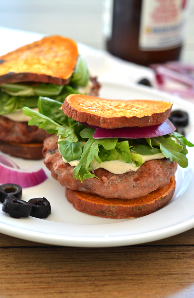 These Greek Stuffed Turkey Burgers are Paleo, Whole30 compliant and packed with greek flavor! Sweet Potato Toast for buns makes this a low card option!