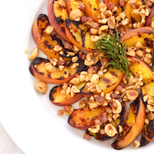 Grilled Peaches with Hazelnut Pancetta Crumble