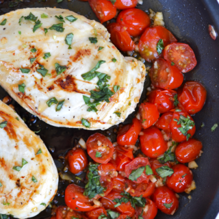 This 20 Minute Tomato Basil Skillet Chicken is a perfect healthy weeknight dinner!