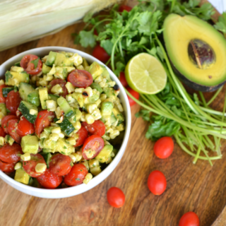 This Grilled Corn and Avocado Salad is the perfect healthy side dish for any party!