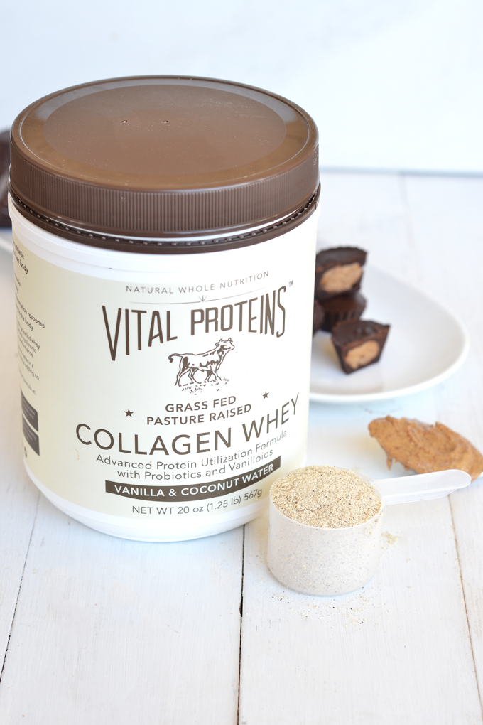 These Vanilla Almond Protein Cups are the perfect, protein packed treat! Using Vital Proteins Collagen Whey adds the flavor and protein!