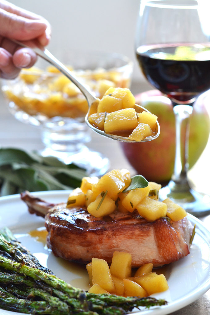 These Grilled Pork Chops w/ Herb Apple Compote are the perfect Fall Paleo & Whole30 Meal!