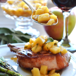 Grilled Pork Chops w/ Herb Apple Compote