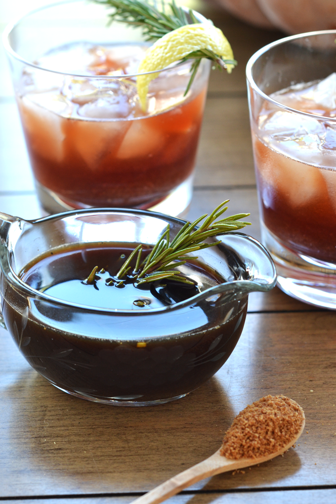 This Rosemary Berry Bourbon Buzz is a perfect fall cocktail! The simple syrup is made with coconut sugar and infused with rosemary for a healthy cocktail option!