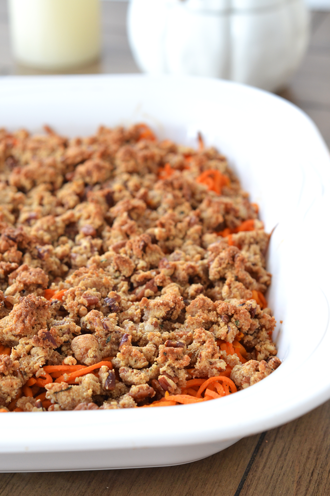 This Spiralized Sweet Potato Casserole w/ Maple Pecan Crumble is the perfect Paleo, grain-free & refined sugar free thanksgiving side dish! It is really perfect for any occasion!