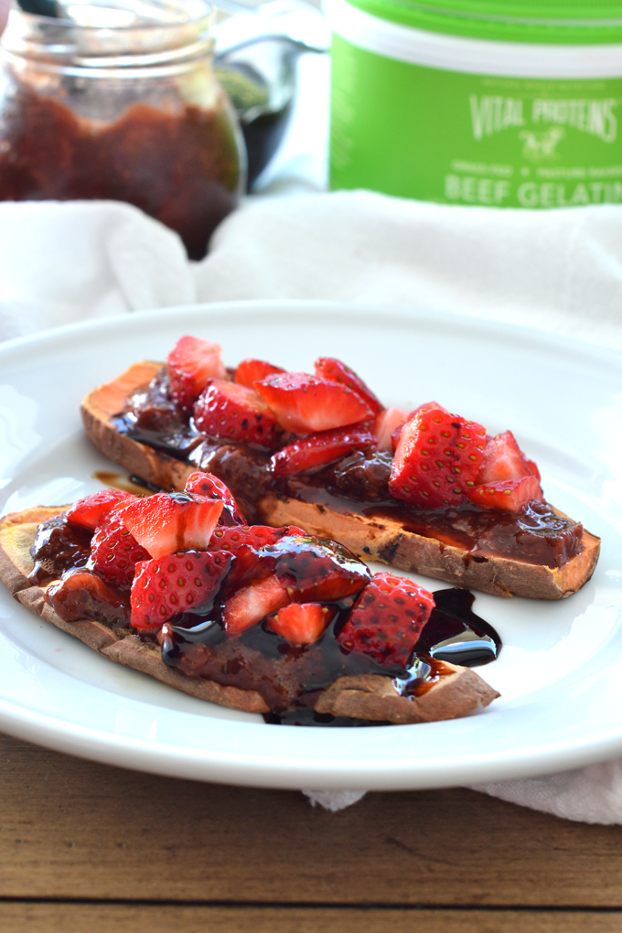 This Strawberry Balsamic Jam is paleo, low in sugar and perfect for sweet potato toast!