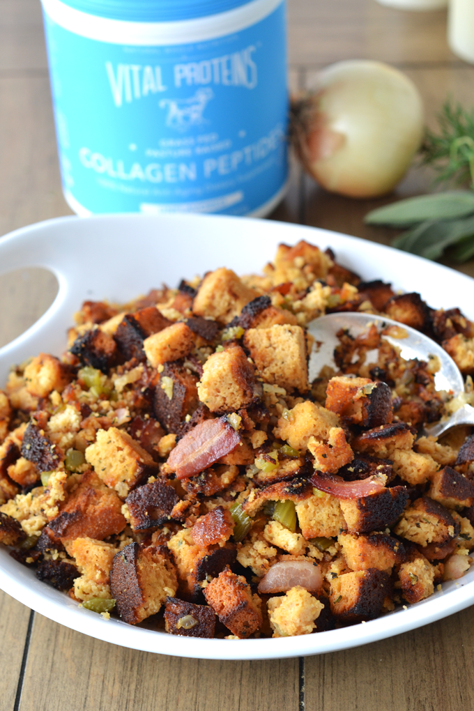 This Grain Free Bacon Herb Stuffing is a great paleo & whole30 stuffing option for thanksgiving!