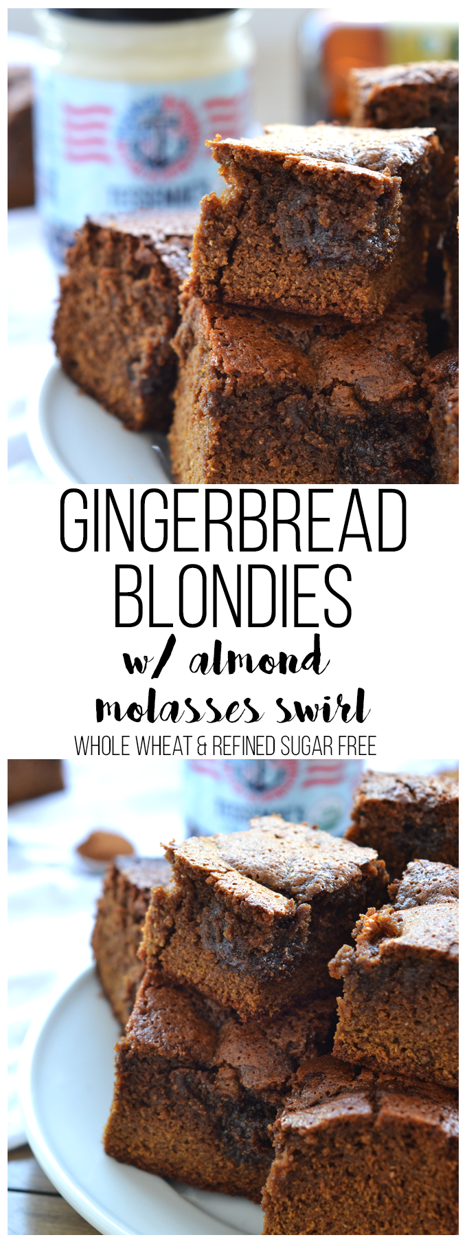 These Gingerbread Blondies had a creamy almond & molasses swirl, are whole wheat and refined sugar free and use super clean Tessemae's Mayonnaise as their fat source!