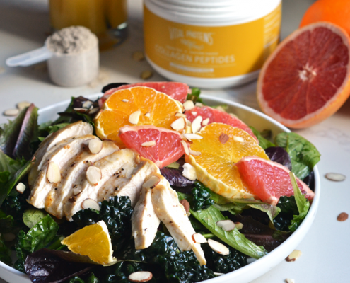 This Citrus Chicken Salad with Vanilla Orange Vinaigrette is a perfect mix of sweet and savory for your Whole30 meal. Using Vital Proteins Collagen to add Protein and flavor!