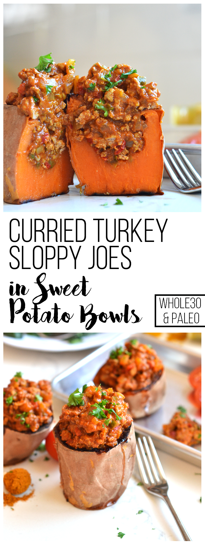 These Curried Turkey Sloppy Joes in Sweet Potato Bowls are the perfect ...