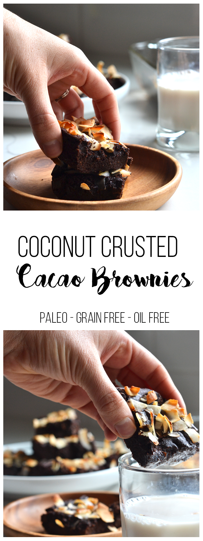 These Coconut Crusted Cacao Brownies are grain free and oil free! The healthy fat comes from avocado and they are sweetened with maple syrup!