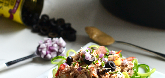 This Slow Cooker Greek Chicken is easy to throw together and packed with flavor! Great for busy weeknights and Whole30 approved!