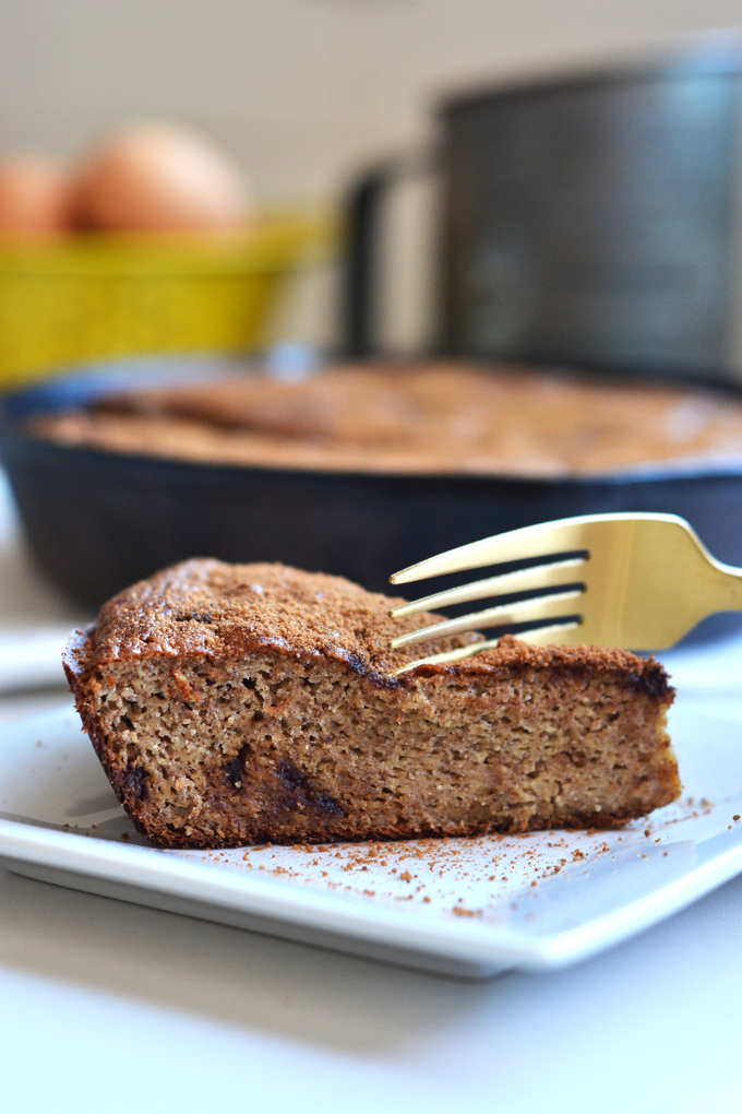 This Churro Banana Bread Skillet Cake is the perfect easter or spring dessert and loved by all ages! Paleo, Grain Free and full of flavor, you would never know it's healthy!