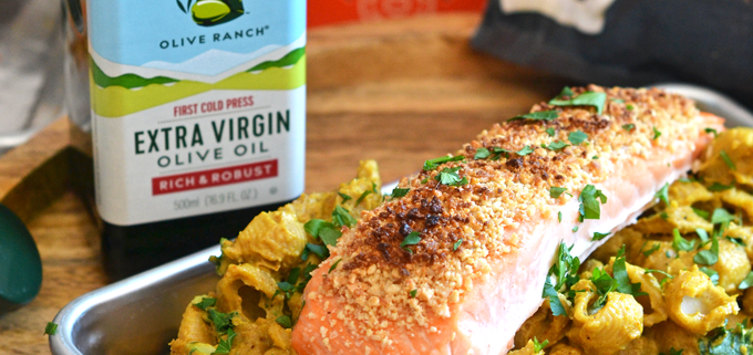 This Coconut Crusted Salmon over Creamy Curry Pasta Recipe is a dairy free and grain free dinner that is healthy and delicious!
