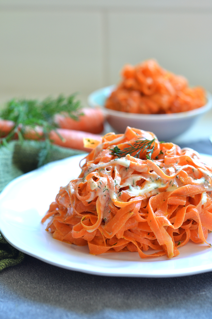 These Tahini Dill Carrot Noodles are a Paleo and Whole30 and the perfect side dish for easter or any occasion!