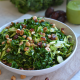 This Shaved Brussels Sprout and Kale Salad has a delicious Sweet Basil Dressing! It is a Whole30 and paleo salad for the summer!