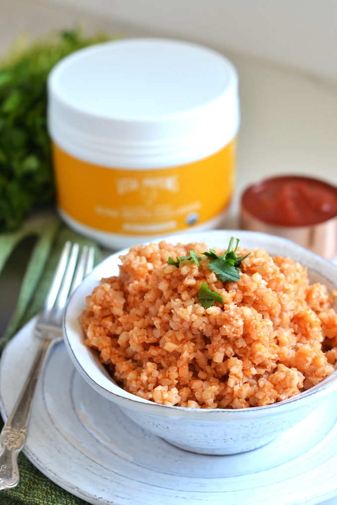 This Mexican Cauliflower Rice is the perfect way to enjoy the authentic mexican rice flavors with a healthy twist!