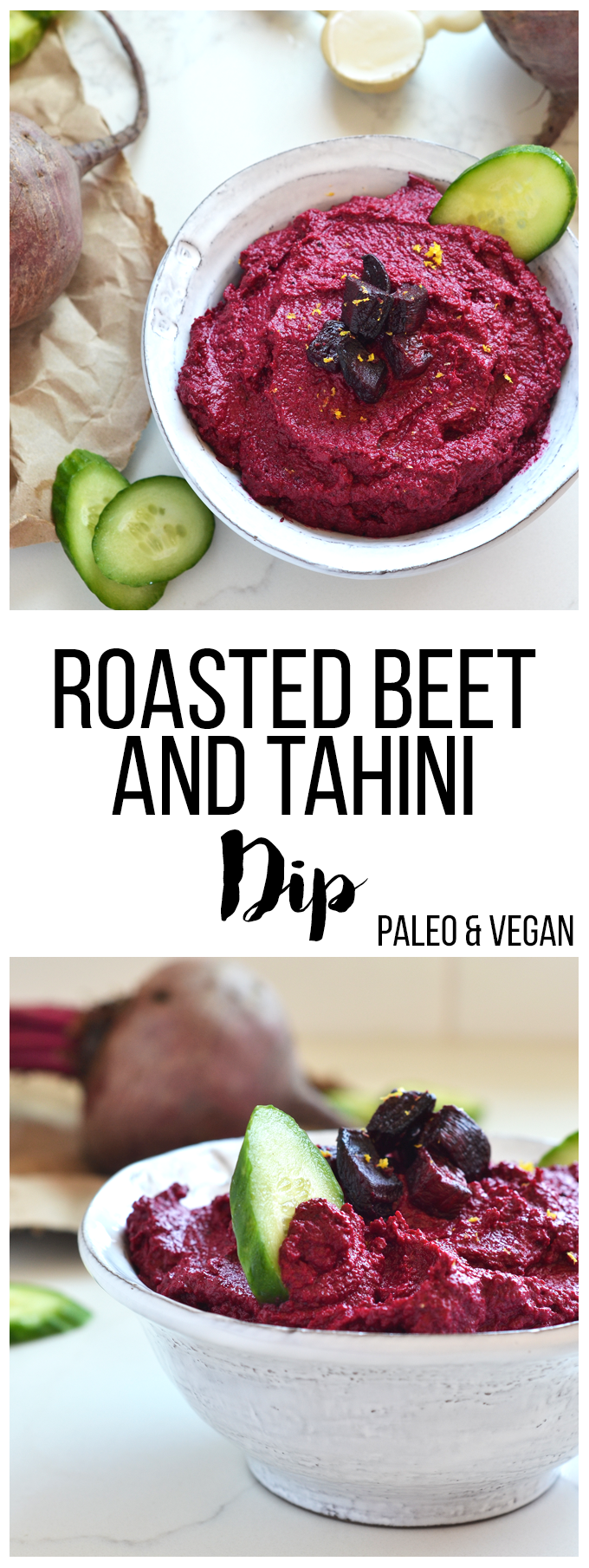 This Roasted Beet & Tahini Dip is the perfect way side dish to bring to any party! Paleo and vegan, there is no one that won't love it!