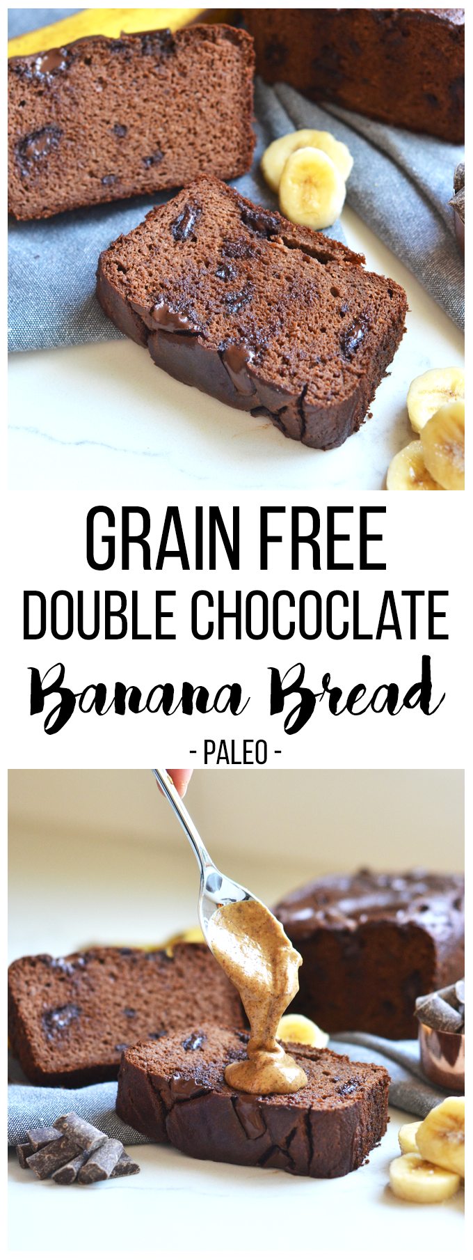 This Grain Free Double Chocolate Banana Bread is moist, chocolately and loved by everyone - paleo or not!!