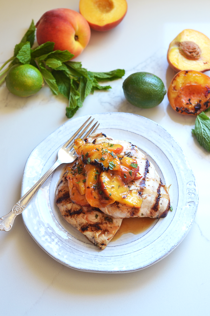 Grilled Mojito Chicken and Peaches - Little Bits Of Real Food