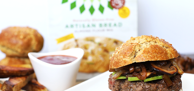 This Caramelized Onion and Mushroom Burger with Grain Free Bun is perfect for labor day and footballs season! A completely paleo burger for everyone to enjoy!
