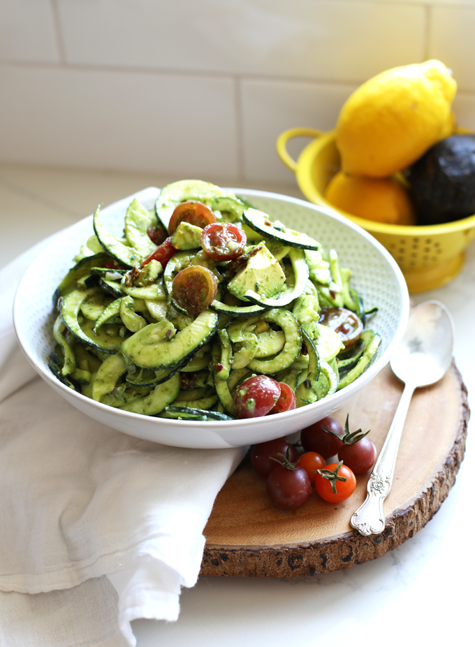 Cold Zucchini Pasta Salad Little Bits Of Real Food