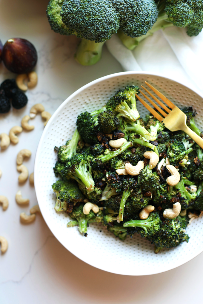This Fig and Sage Roasted Broccoli Salad is a perfect side dish for summer or fall! Delicious warm but great room temperature as well!