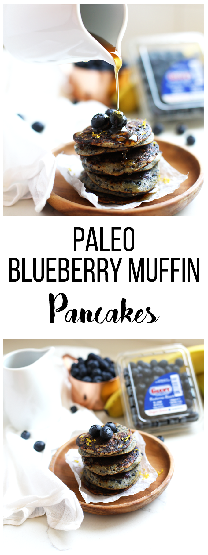 These Paleo Blueberry Muffin Pancakes only have a few ingredients and are a great grain free breakfast option for anyone!