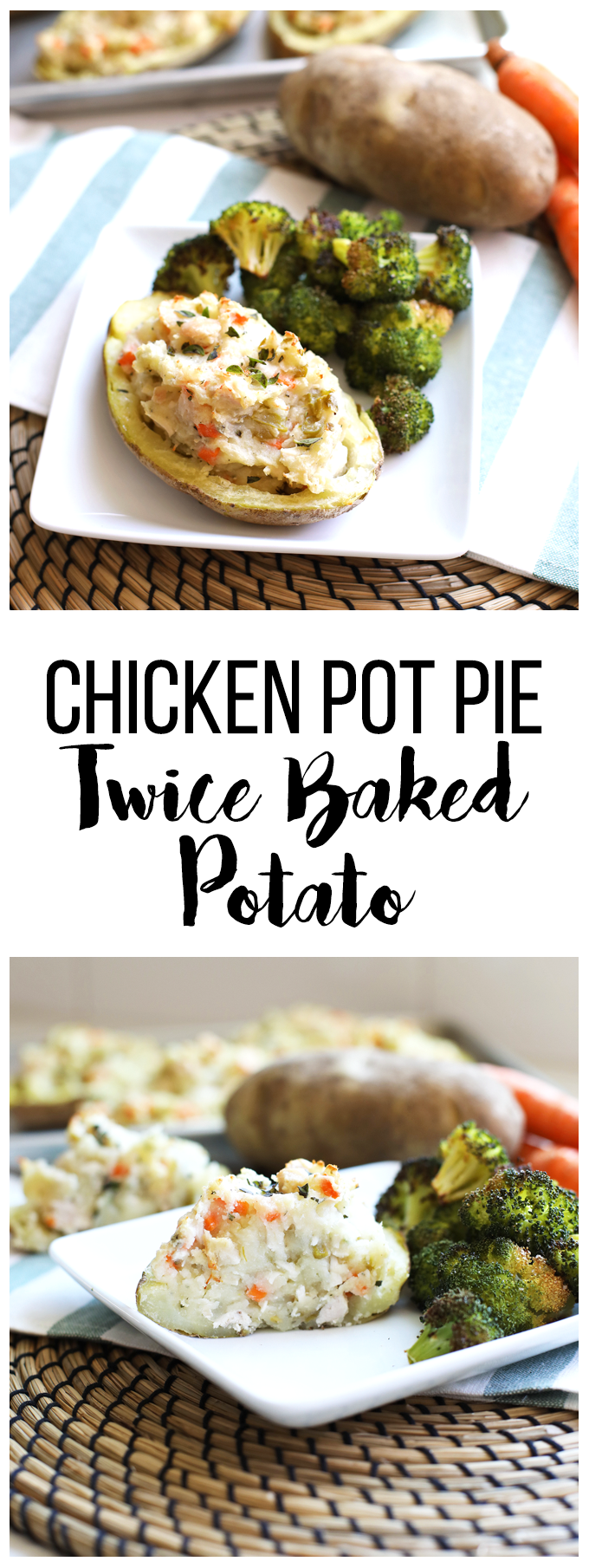 This Chicken Pot Pie Twice Baked Potatoes recipe is healthy comfort food at its finest! Whole30 compliant and perfect for fall!