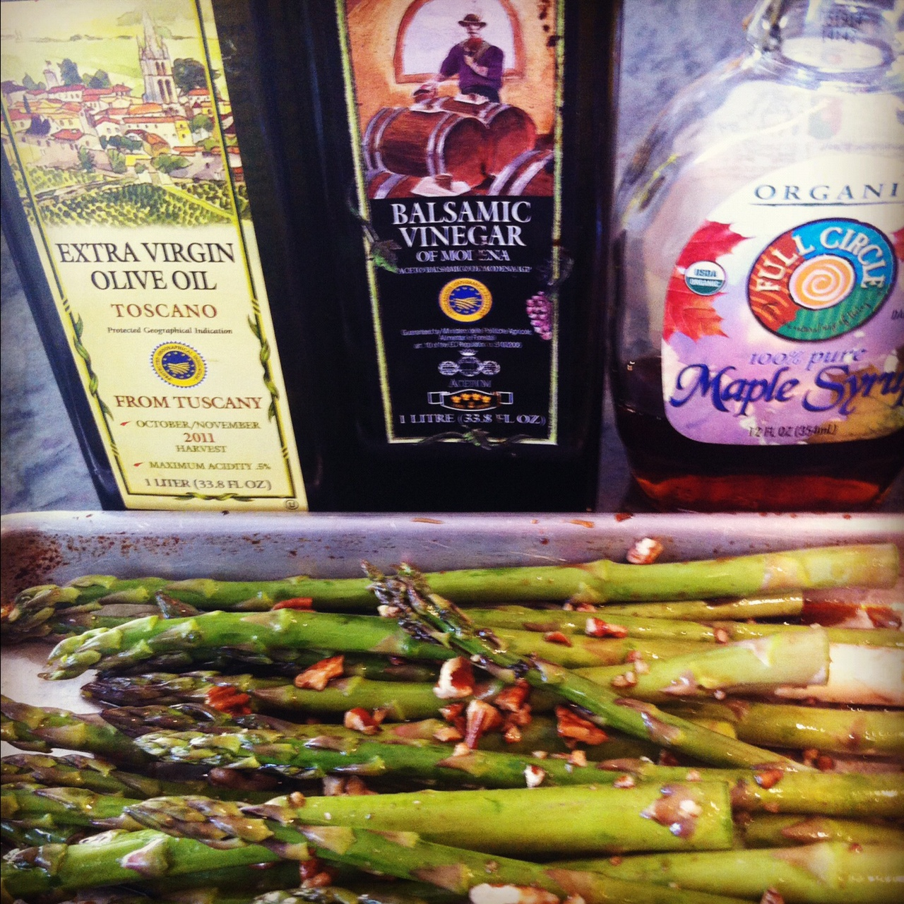 Maple Roasted Asparagus with Pecans - Little Bits of...
